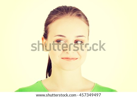 Attractive woman face, looking into side. - stock photo