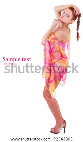Attractive woman full-length isolated on white - stock photo