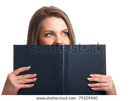 Attractive woman holding book isolated - stock photo