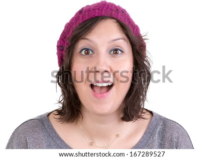 Attractive woman in a knitted cap reacting in delight and pleasure with sparkling eyes and her mouth open wide, isolated on white - stock photo