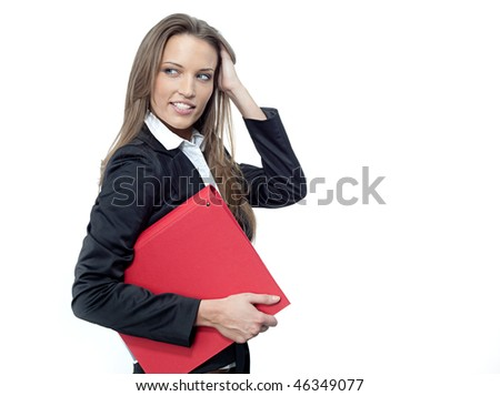 attractive woman in suit with papers - stock photo