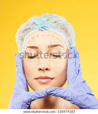attractive woman on the examination before surgery - stock photo