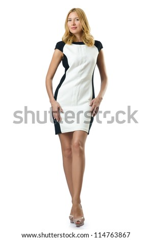 Attractive woman on white background - stock photo