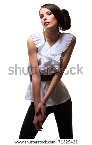 attractive woman posing over white background - stock photo