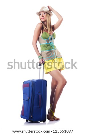 Attractive woman ready for summer vacation - stock photo