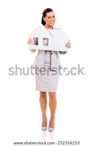 attractive woman showing house symbol on white background - stock photo