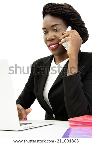 Attractive Woman Speaking on the Phone, Working on the Laptop, Isolated on White Background - stock photo