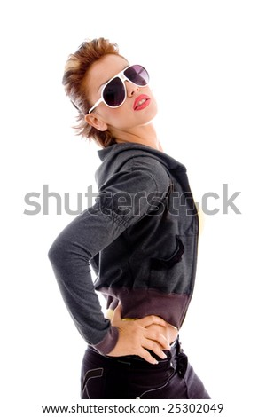 attractive woman wearing sunglasses with white background - stock photo