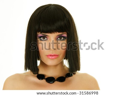 Attractive woman with black necklace isolated over white - stock photo