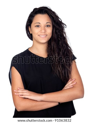 Attractive woman with black t-shirt isolated on a over white background - stock photo