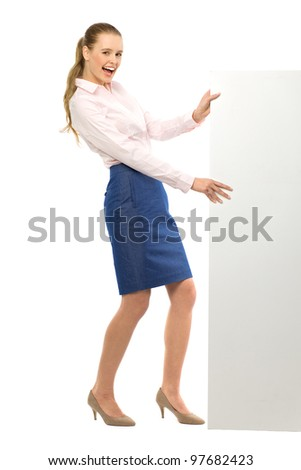Attractive woman with blank poster - stock photo