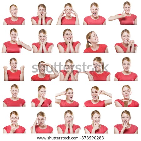 Attractive woman with different gestures and emotions isolated on white. Set of pictures. - stock photo