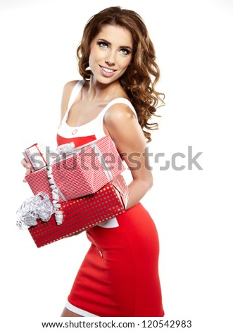 Attractive woman with many gift boxes and bags. - stock photo