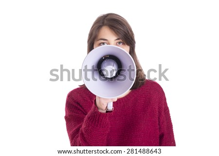 Attractive woman with megaphone - stock photo
