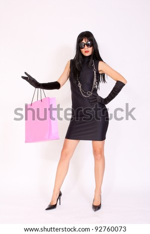 Attractive Woman With Shopping Bag - stock photo