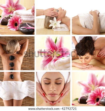 Attractive women getting spa treatment - stock photo