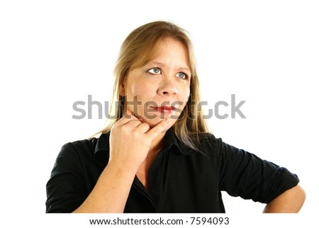 Attractive 30-40 year old business woman with finger to chin as if thinking or considering something. Isolated on white. - stock photo