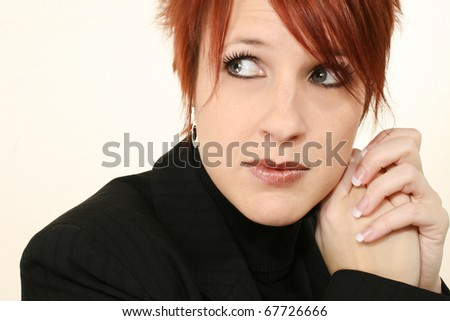Attractive 30 year old ginger woman with concerned expression. - stock photo