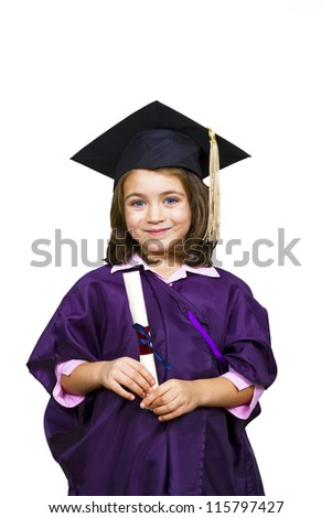 Attractive 5 year old girl in oversized large graduation cap and gown with diploma over white background - stock photo