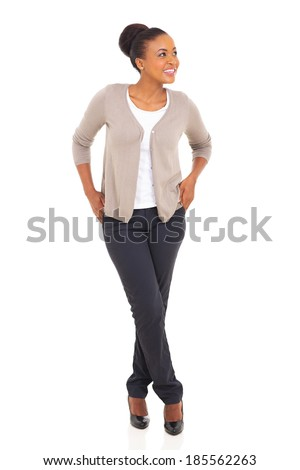 attractive young african woman looking away over white background - stock photo