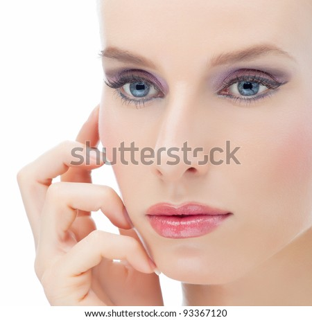 Attractive young beautiful woman looking out of the camera on white background - stock photo