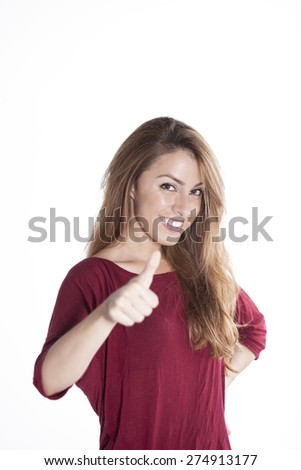 Attractive young beautiful woman smile holding thump up sign. Isolated over white background.  - stock photo