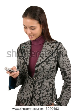 Attractive young business woman sending a text message. - stock photo