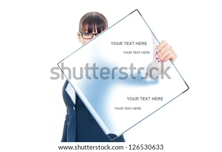 Attractive young business woman showing blank signboard, isolated on white - stock photo