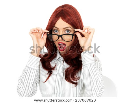 Attractive Young Business Woman Wearing Glasses - stock photo