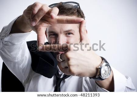attractive young businessman planning - stock photo