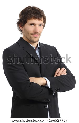 Attractive young businessman posing with folded arms isolated on a white background           - stock photo
