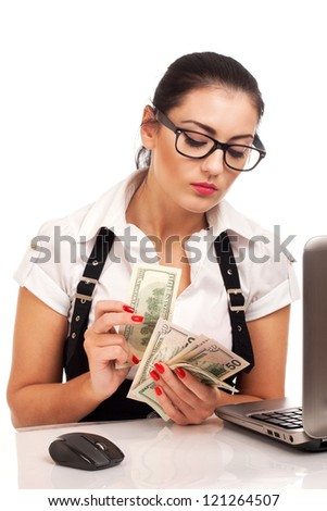 Attractive young businesswoman gives money - stock photo
