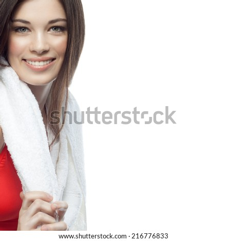 attractive young caucasian woman isolated  on white background studio shot figure body towel spa - stock photo