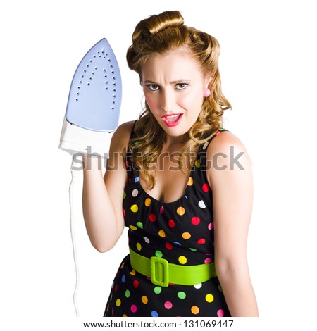 Attractive young cleaning lady with curled hair and iron, white background. - stock photo