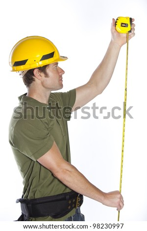 Attractive young construction worker or contractor - stock photo