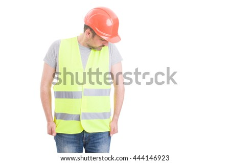 Attractive young constructor wearing hard heat and reflective yellow vest ready to start a new day of work isolated on white   - stock photo