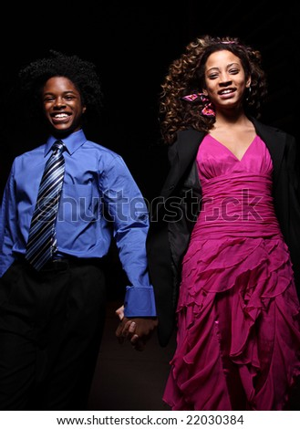 Attractive young couple at night - stock photo