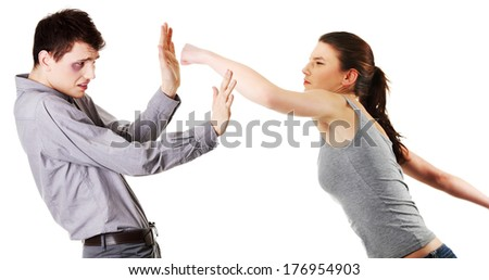 Attractive young couple fighting. Women hitting a men. Isolated on white background. - stock photo