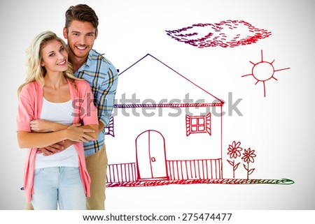 Attractive young couple smiling together against white background with vignette - stock photo