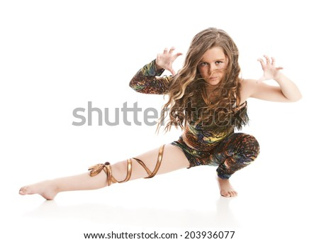 Attractive young dancer performing.  Isolated on white with room for your text. - stock photo