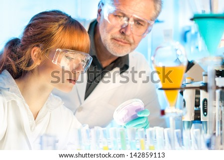 Attractive young female scientist and her senior male supervisor looking at the cell colony grown in the petri dish in the life science research laboratory (genetics, forensics, microbiology..) - stock photo