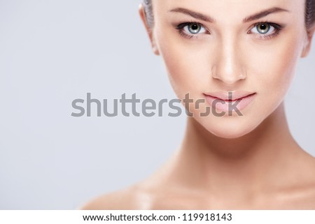 Attractive young girl isolated - stock photo
