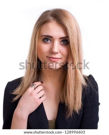 Attractive young girl on a white background - stock photo
