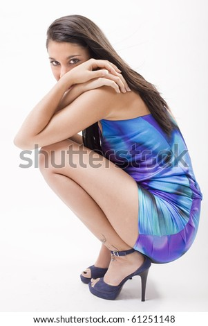attractive young girl posing in a fashion shooting - stock photo