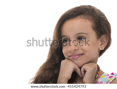 Attractive Young Girl With a Smile Looking Away Isolated on White Background - stock photo