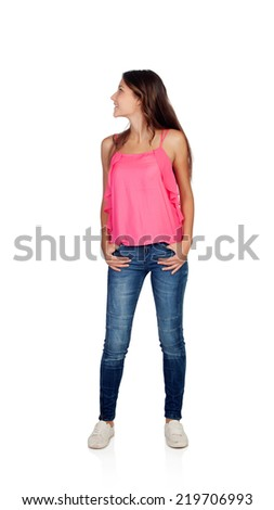 Attractive young girl with jeans looking back isolated on a white background - stock photo