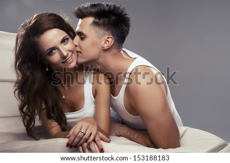 Attractive young lovers  - stock photo