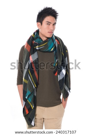 attractive young male handsome man warmed up in scarf, - stock photo