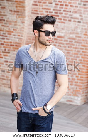 Outdoor Portrait Photography Poses For Men Attractive Young Male Model Posing Outdoors
