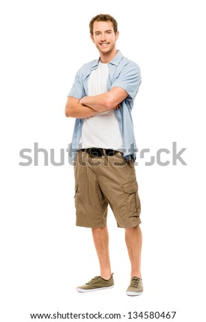 Attractive young man in casual clothing white background - stock photo